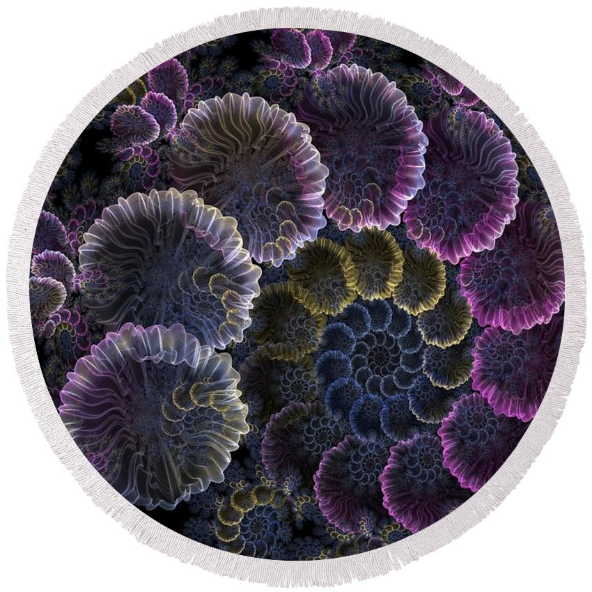 Fractal Round Beach Towel featuring the digital art Spiral Of Fay by Amorina Ashton