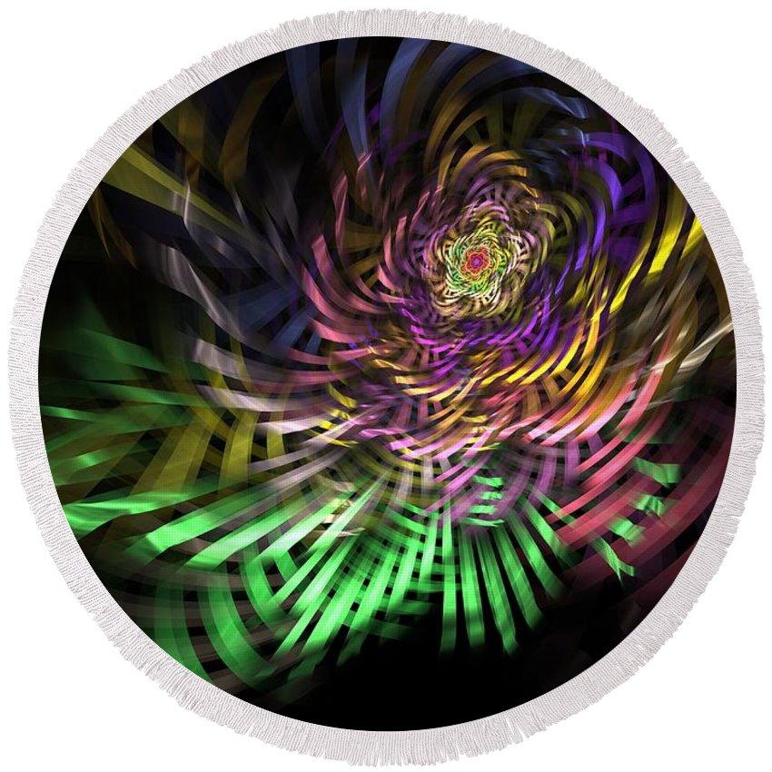Fractal Round Beach Towel featuring the digital art Spiral Rainbow by Deborah Benoit