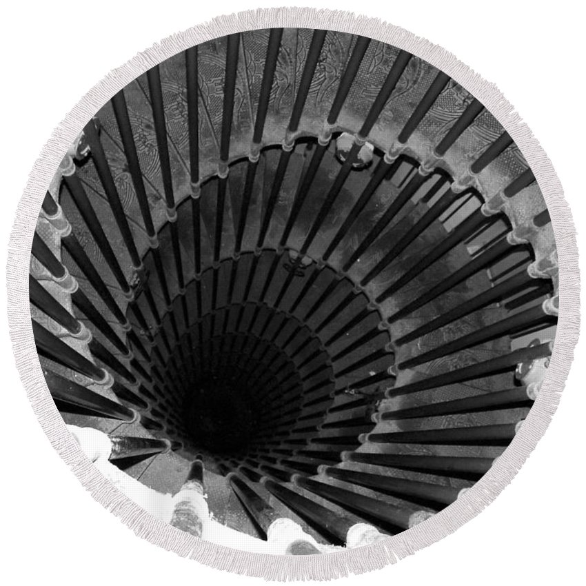 Spiral Staircase Round Beach Towel featuring the photograph Spiral Staircase In Lublijana by Donna Corless