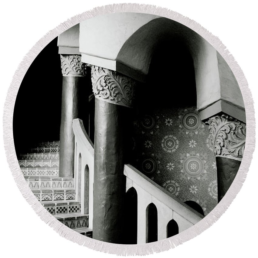 Stairs Round Beach Towel featuring the mixed media Spiral Stairs- Black And White Photo By Linda Woods by Linda Woods
