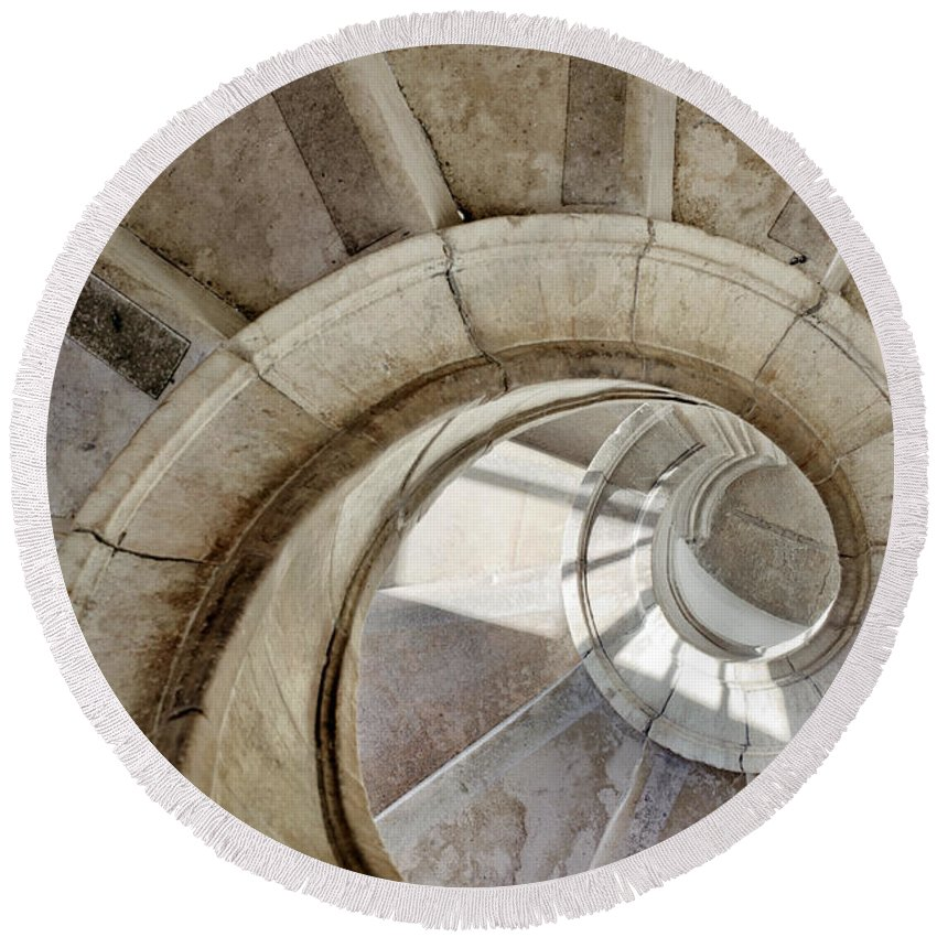 Abstract Round Beach Towel featuring the photograph Spiral Stairway by Carlos Caetano