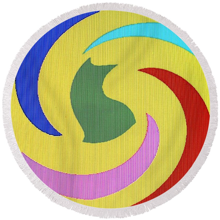 Abstract Round Beach Towel featuring the digital art Spiral Three by Ian MacDonald