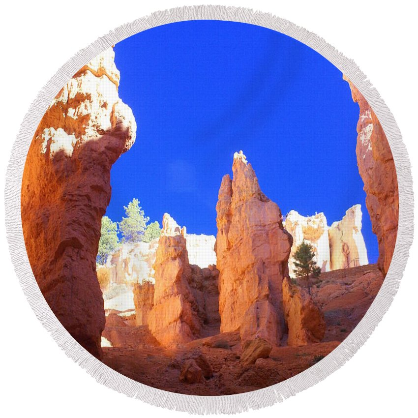 Bryce Canyon National Park Round Beach Towel featuring the photograph Spires by Marty Koch