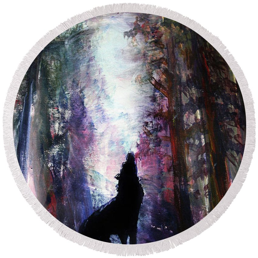 Wolf Round Beach Towel featuring the painting Spirit Guide by Frank Botello