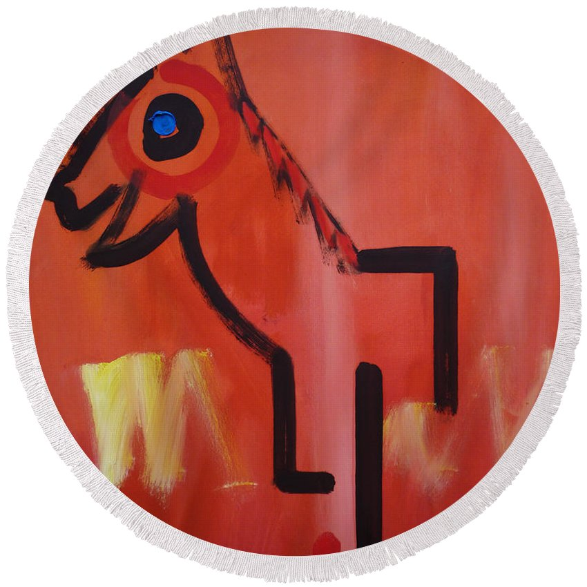 Spirit Horse Round Beach Towel featuring the painting Spirit Horse by Charles Stuart