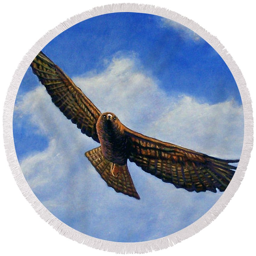 Hawk Round Beach Towel featuring the painting Spirit In The Wind by Brian Commerford
