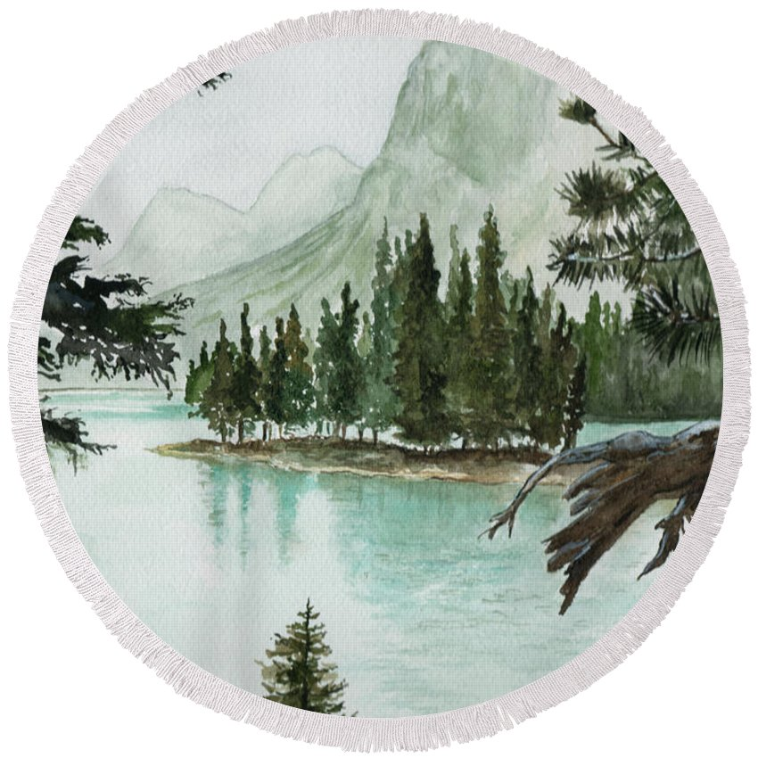 Landscape Round Beach Towel featuring the painting Spirit Lake by Brenda Owen