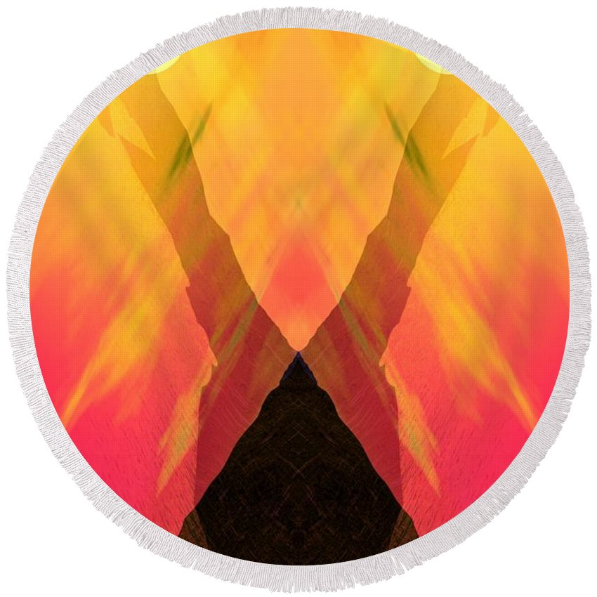 Round Beach Towel featuring the digital art Spirit Of The Mountain by David Lane