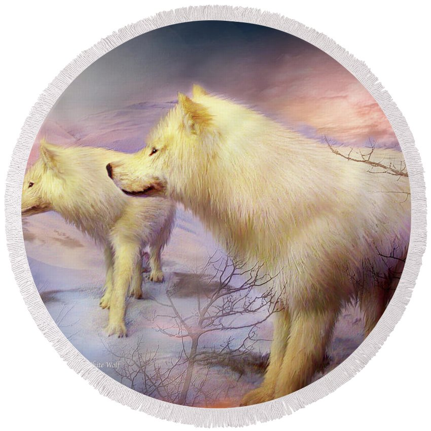 White Wolf Round Beach Towel featuring the mixed media Spirit Of The White Wolf by Carol Cavalaris