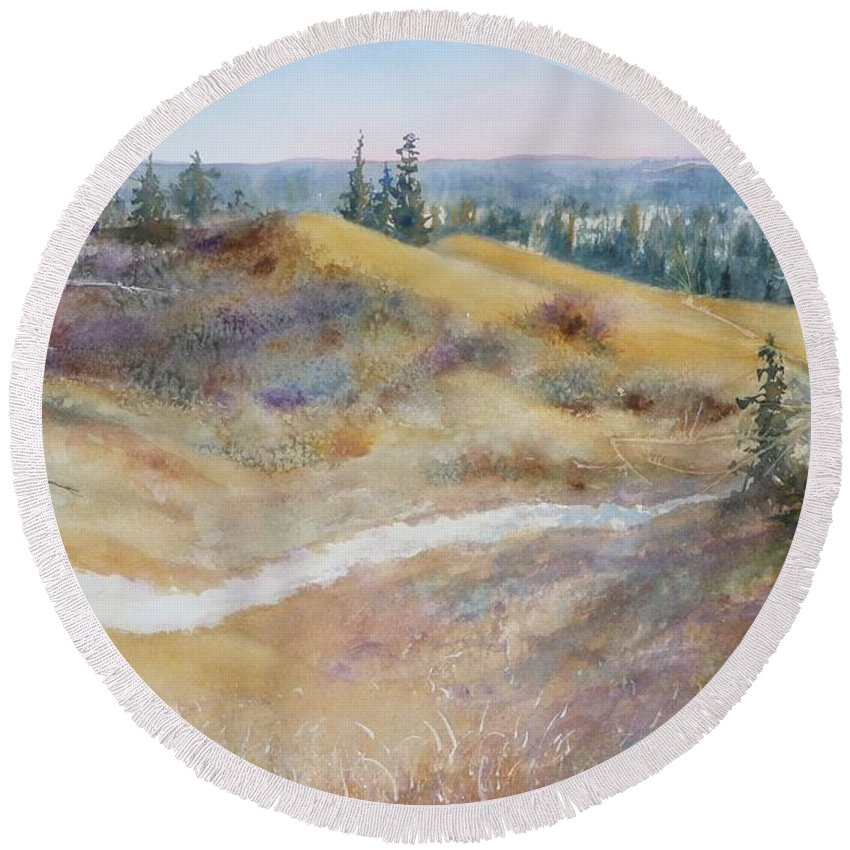 Landscape Round Beach Towel featuring the painting Spirit Sands by Ruth Kamenev