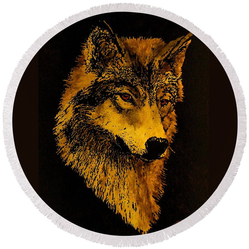 Wolf Round Beach Towel featuring the painting Spirit Wolf by John Guthrie