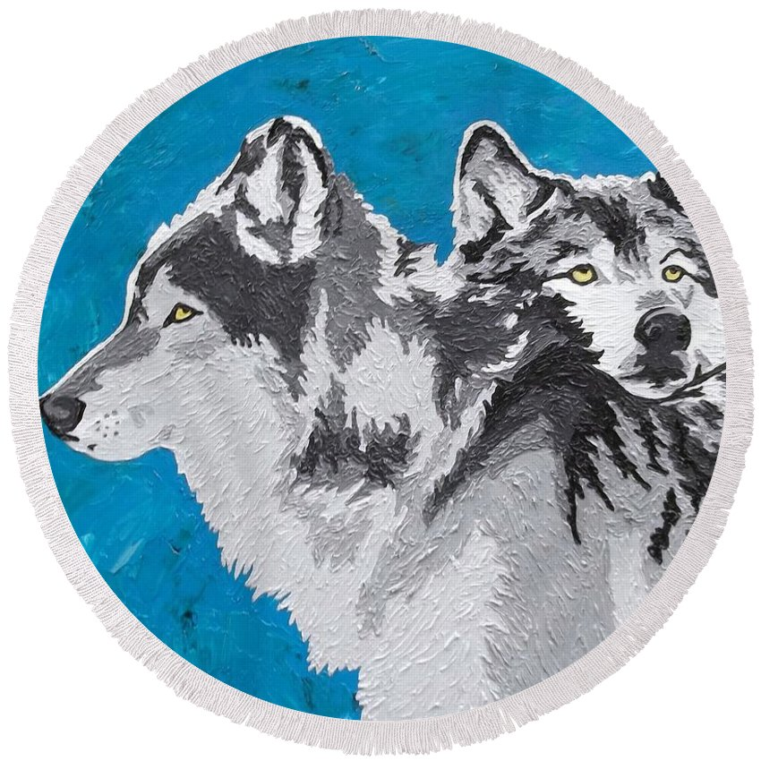 Wolves Round Beach Towel featuring the painting Spirited Pack by Amy Pugh