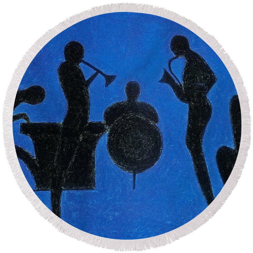 Musicians Round Beach Towel featuring the painting Spirits Of Jazz by Kate Hopson