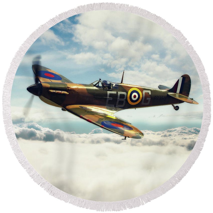 Supermarine Spitfire P7350 Round Beach Towel featuring the digital art Spitfire P7350 by J Biggadike