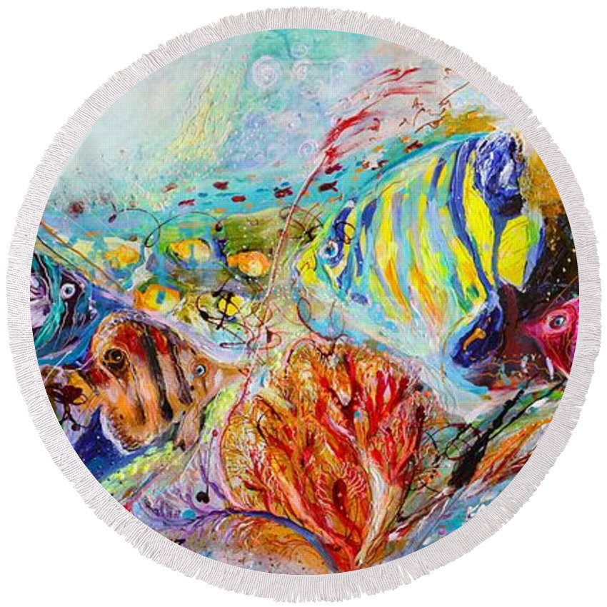 Light Blue Background Round Beach Towel featuring the painting Splash Of Life #14 Red Sea by Elena Kotliarker