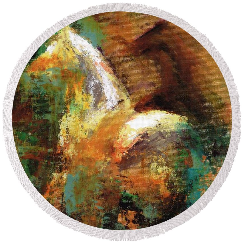 Abstract Horse Round Beach Towel featuring the painting Splash Of White by Frances Marino