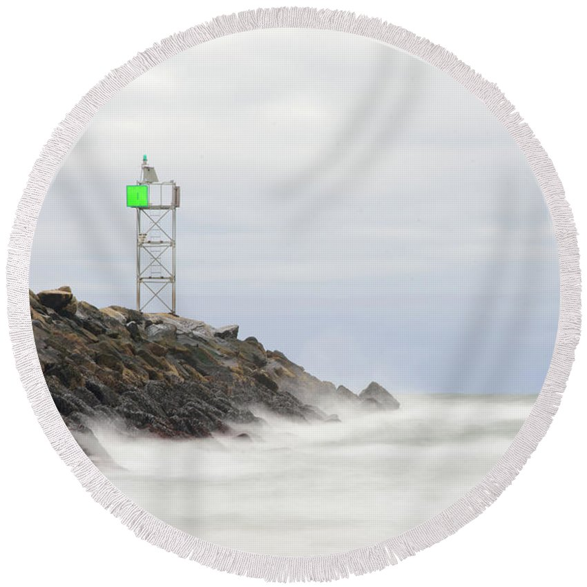 Cloudy Round Beach Towel featuring the photograph Splashing Jetty Waves by Justin Mountain