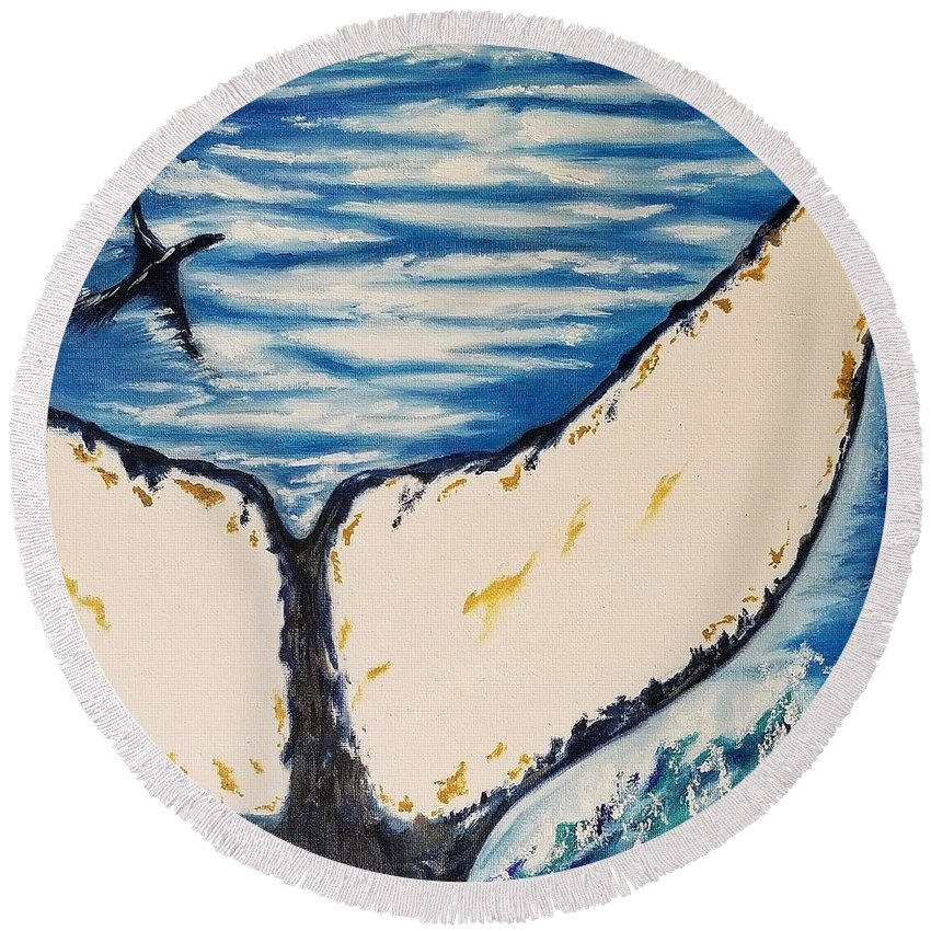 Ocean Round Beach Towel featuring the painting Ocean Tail by Jessica Cyrul