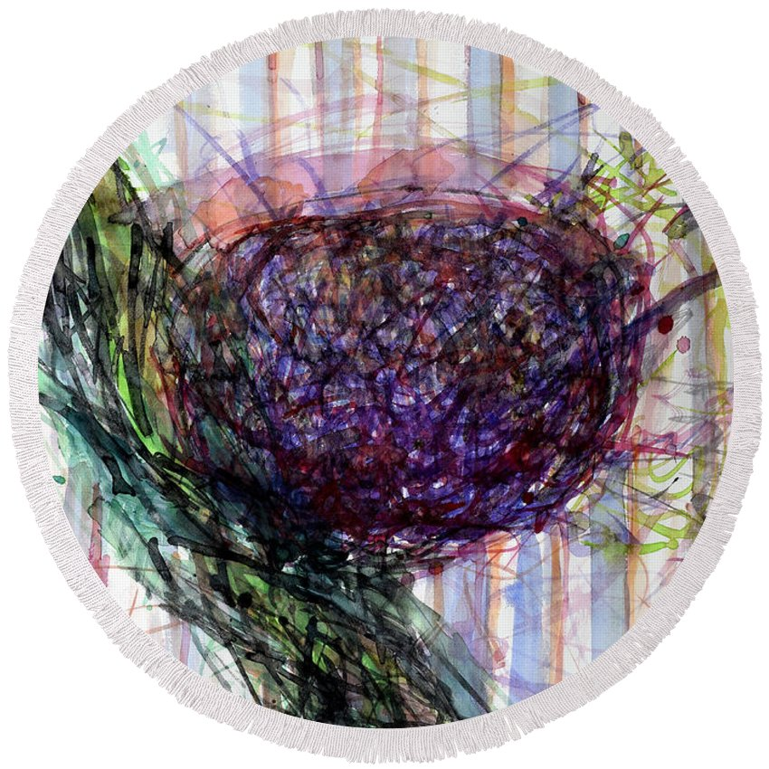 Plant Round Beach Towel featuring the painting Splashy Fruit by Heidi Capitaine