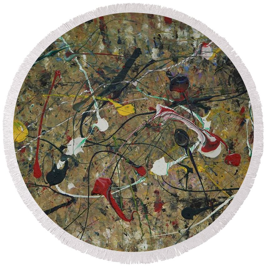 Abstract Round Beach Towel featuring the painting Splattered by Jacqueline Athmann
