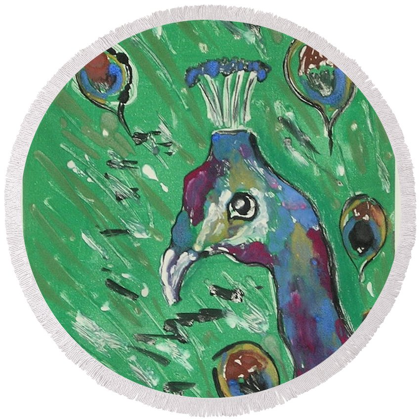 Peacock Round Beach Towel featuring the mixed media Splendor Is The Night by Cori Solomon