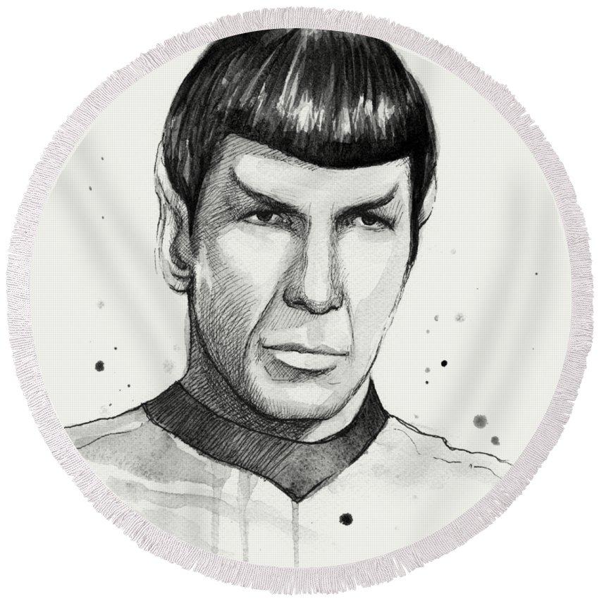 Star Trek Round Beach Towel featuring the painting Spock Watercolor Portrait by Olga Shvartsur