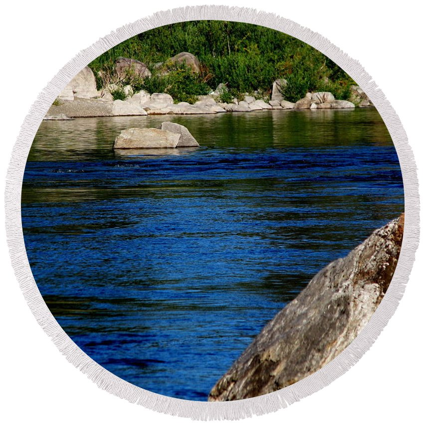 Patzer Round Beach Towel featuring the photograph Spokane River by Greg Patzer