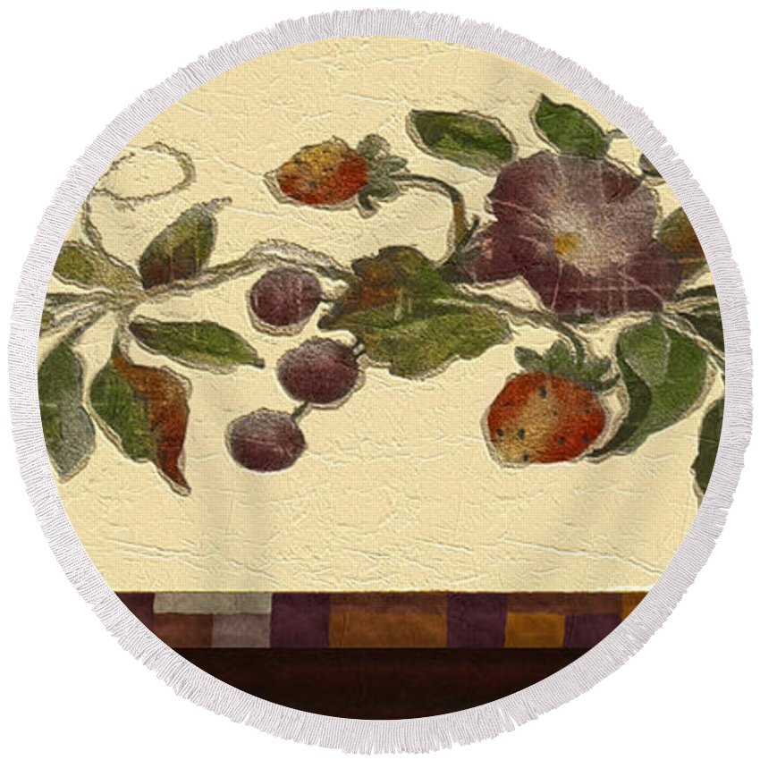 Decor Round Beach Towel featuring the digital art Sponge-painted Plaster by RC DeWinter