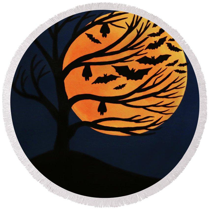Spooky Bat Tree Round Beach Towel