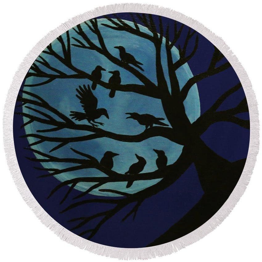 Spooky Raven Tree Round Beach Towel