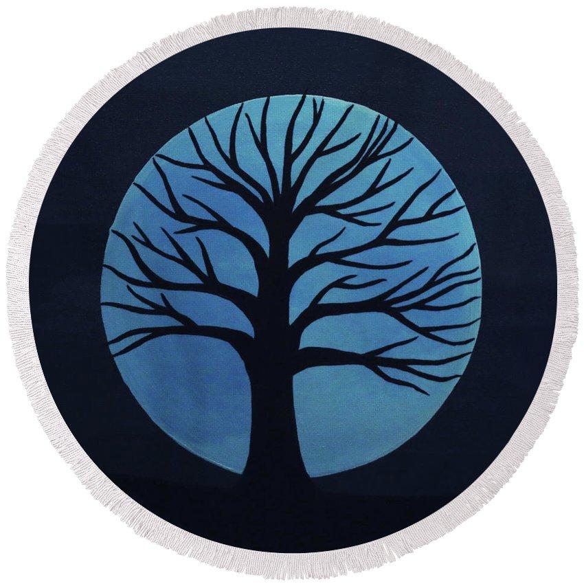 Spooky Tree Blue Round Beach Towel