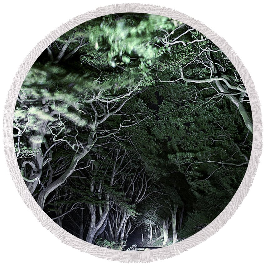Botanic Round Beach Towel featuring the photograph Spooky Trees by Svetlana Sewell