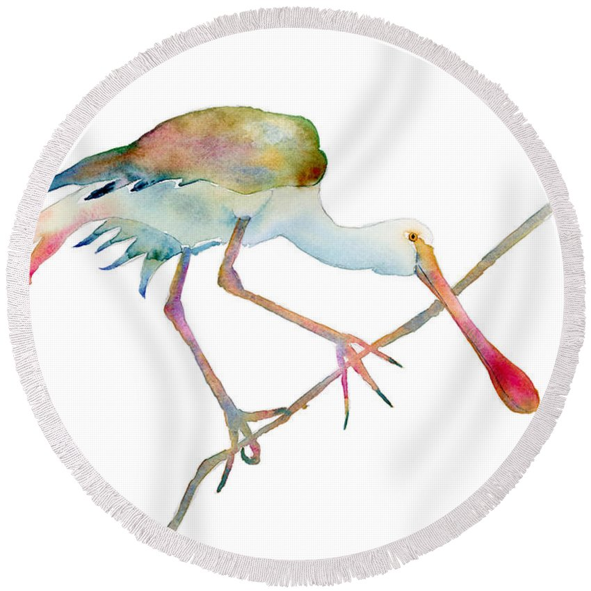 Spoonbill Round Beach Towels
