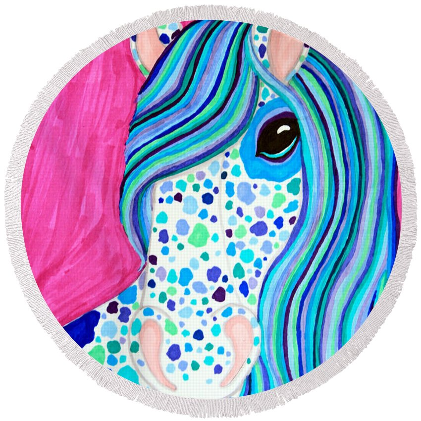 Horse Round Beach Towel featuring the drawing Spotted Horse by Nick Gustafson