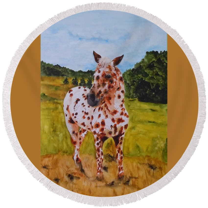 Horse Round Beach Towel featuring the painting Spotted in Hawaii by Jean Blackmer