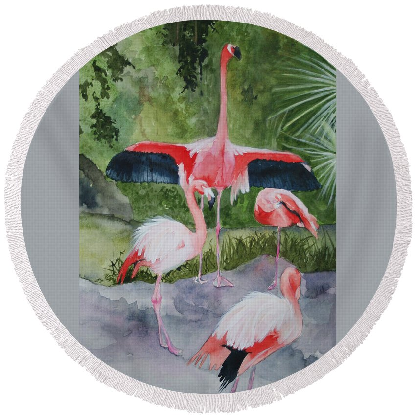 Wings Round Beach Towel featuring the painting Spreading My Wings by Jean Blackmer