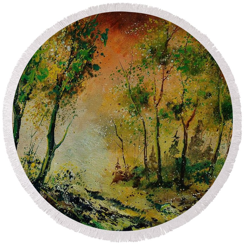 Spring Round Beach Towel featuring the painting Sprin In Wood 45 by Pol Ledent