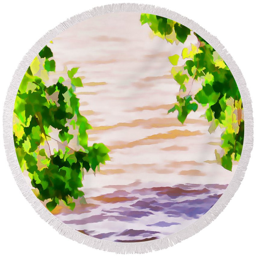 Summer Round Beach Towel featuring the painting Spring 2 by Jeelan Clark
