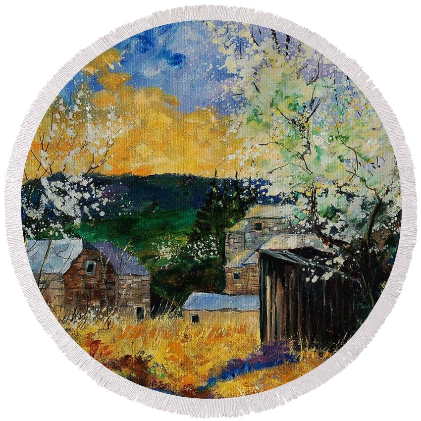 Spring Round Beach Towel featuring the painting Spring 45 by Pol Ledent