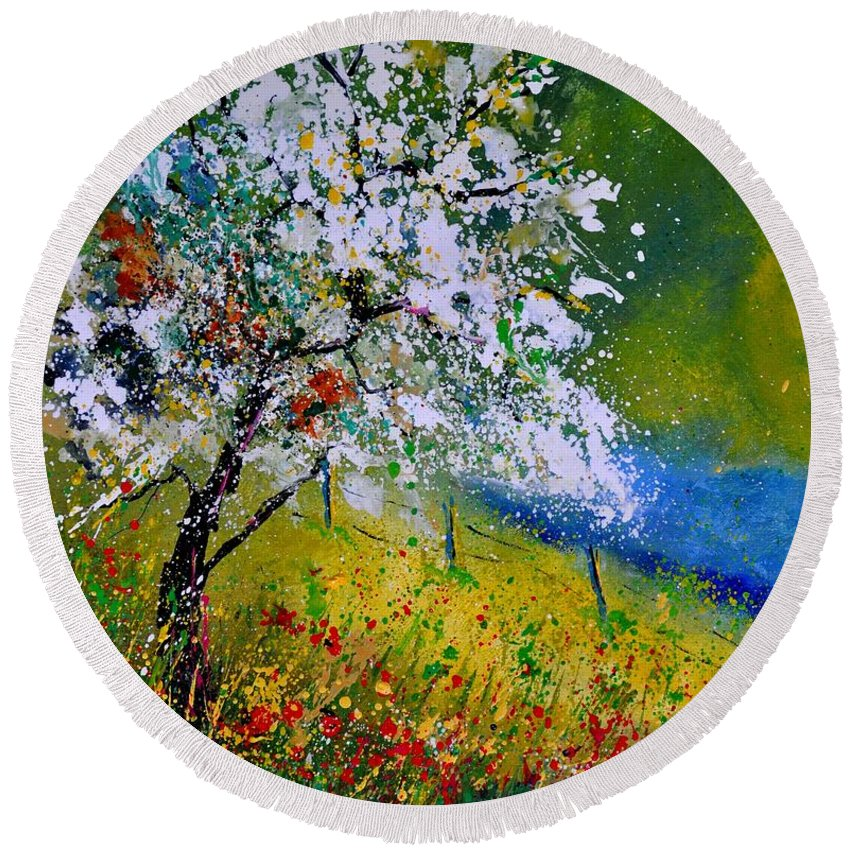 Landscape Round Beach Towel featuring the painting Spring 451110 by Pol Ledent