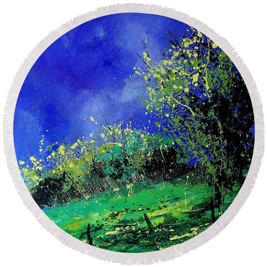 Spring Round Beach Towel featuring the painting Spring 459060 by Pol Ledent