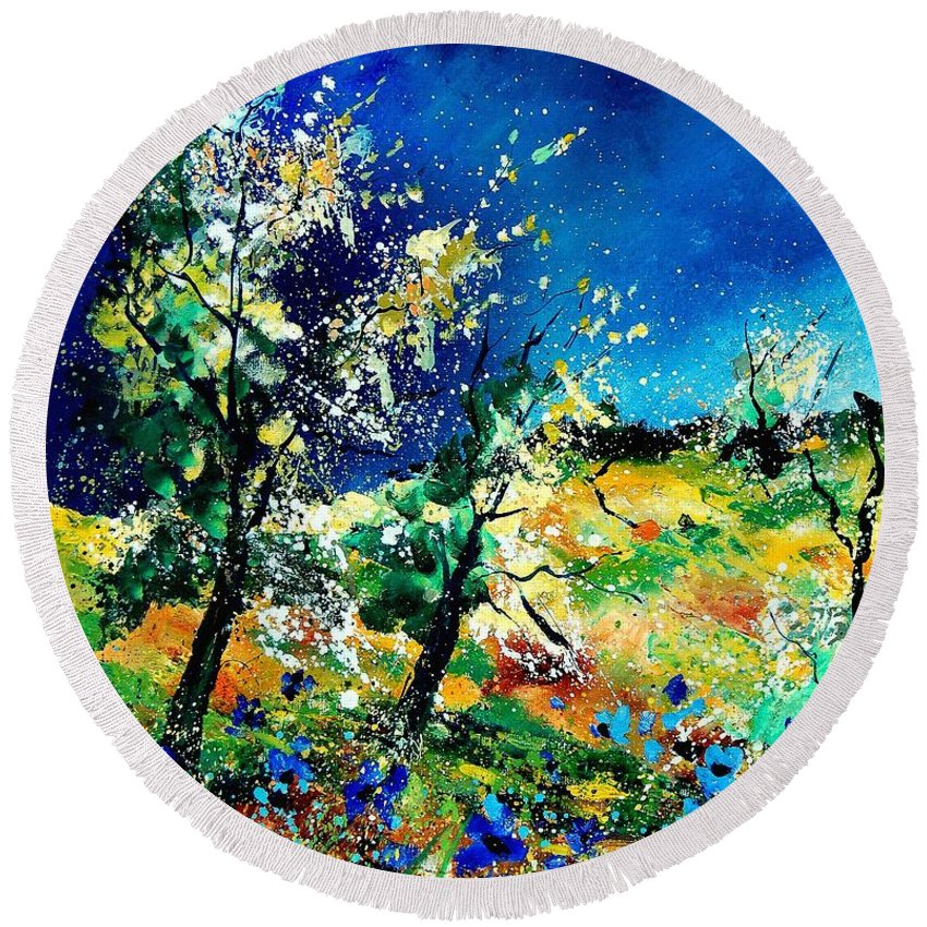 Tree Round Beach Towel featuring the painting Spring 56 by Pol Ledent