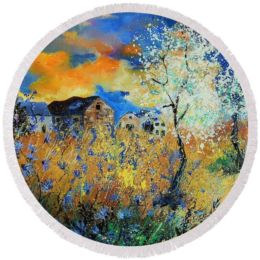 Flowers Round Beach Towel featuring the painting Spring 67 by Pol Ledent