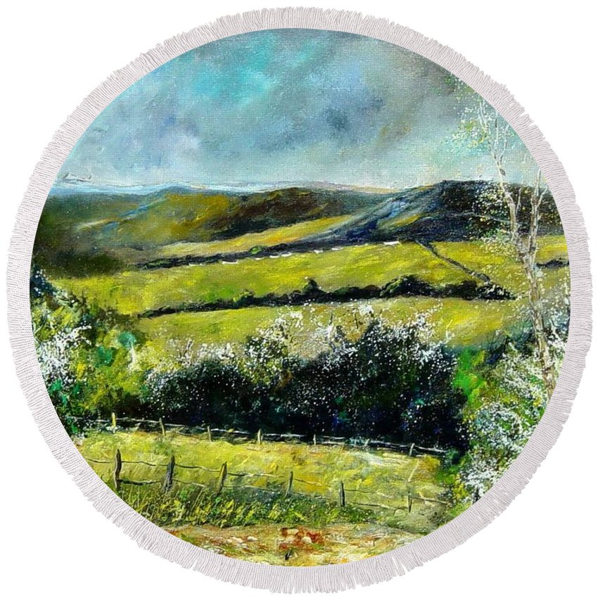 Landscape Round Beach Towel featuring the print Spring 79 by Pol Ledent