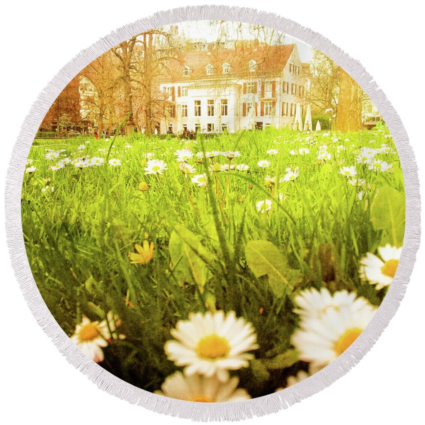 Gerlya Sunshine Round Beach Towel featuring the photograph Spring. A Medow Spread With Daisies In Baden-baden, Germany by Gerlya Sunshine