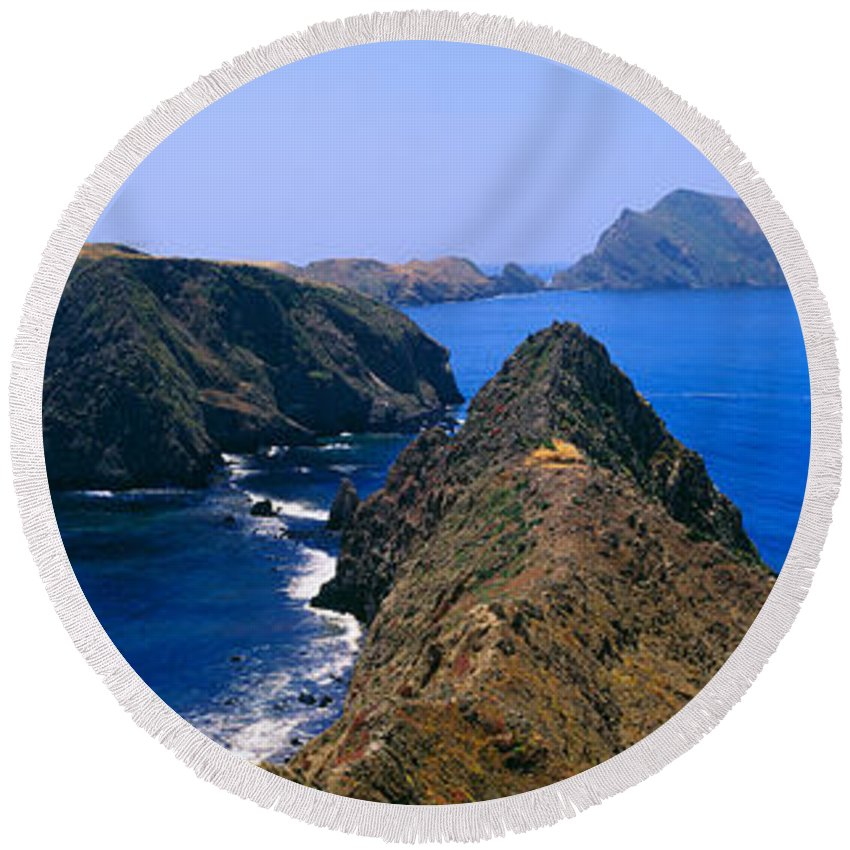 Photography Round Beach Towel featuring the photograph Spring At Anacapa Island, Channel by Panoramic Images