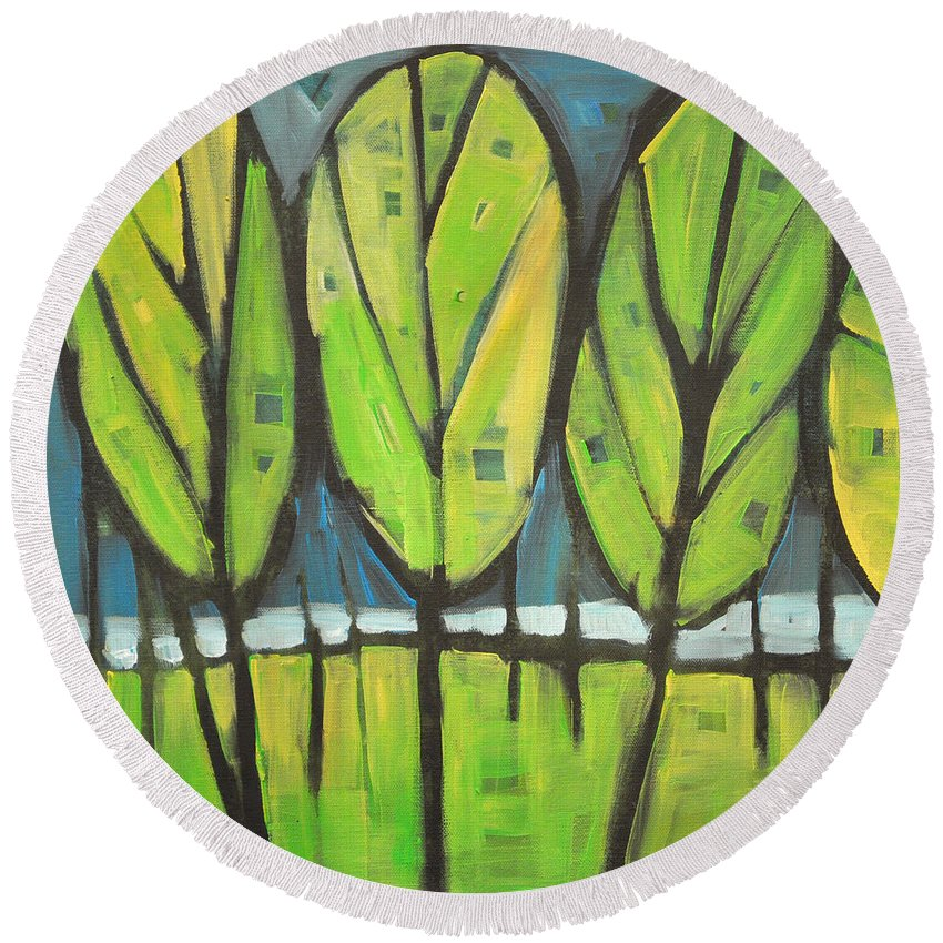 Spring Round Beach Towel featuring the painting Spring At The Lake by Tim Nyberg