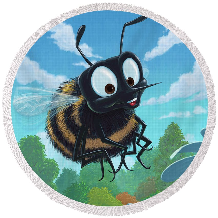 Spring Round Beach Towel featuring the painting Spring Bee by Martin Davey