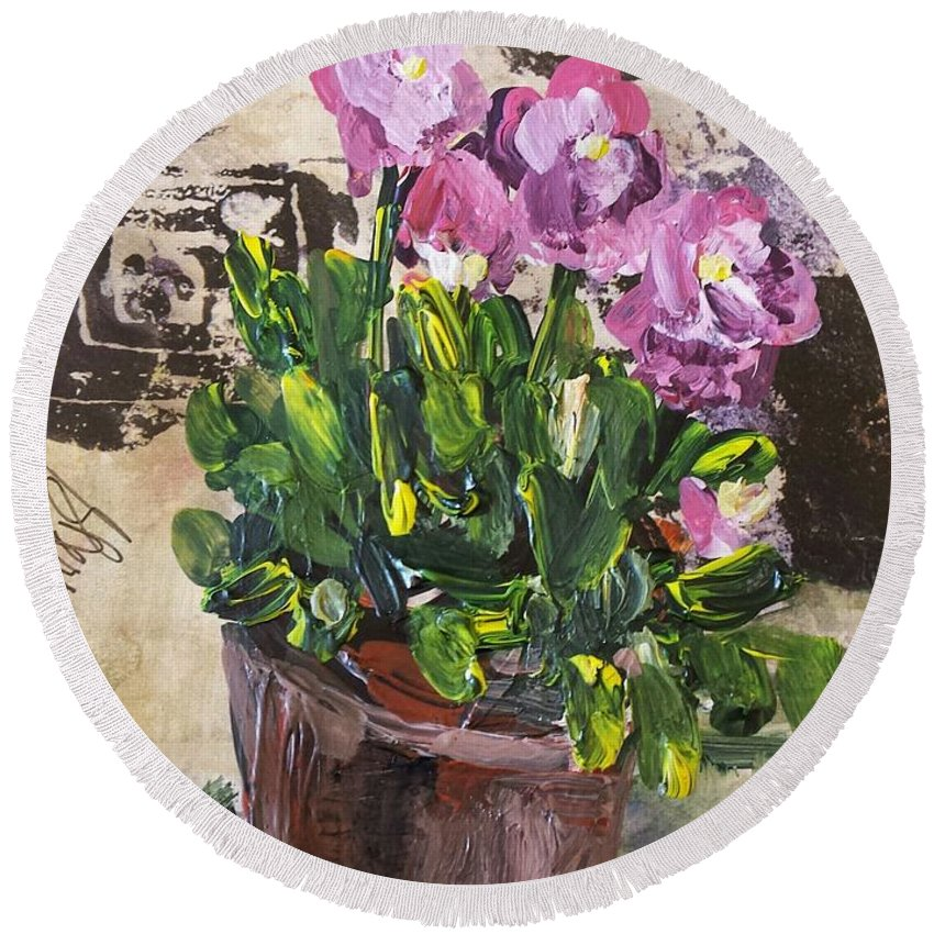Floral Round Beach Towel featuring the painting Spring Bliss by Sherry Harradence