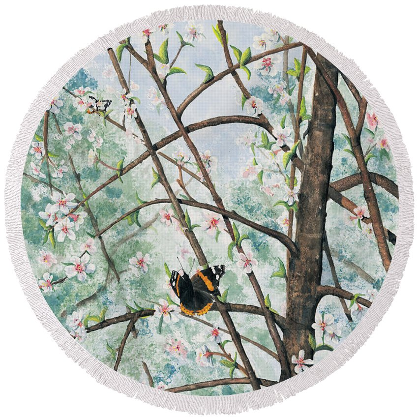 Butterfly Round Beach Towel featuring the painting Spring Blossom by Mary Tuomi
